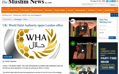 The UK's largest ethnic monthly tells about the World Halal Authority